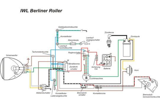 Kabelbaum für IWL Roller Berlin SR 59 , Wiesel SR 56 + Schaltplan ...